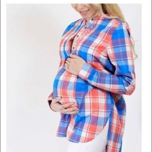 Blue & red plaid maternity top